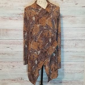 Bobeau cardigan top Brown size XL long sleeve